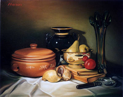 Rice Painting - Still Life With Pears by Patrick Anthony Pierson