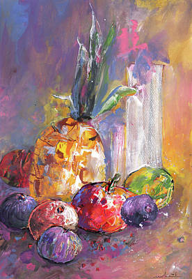Kiwi Art Painting - Still Life With Pineapple by Miki De Goodaboom