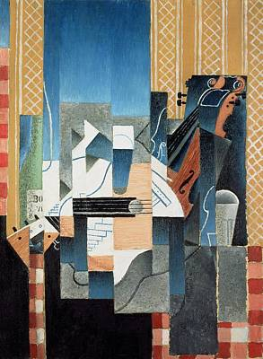 With Guitar Painting - Still Life With Violin And Guitar by Juan Gris