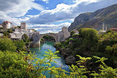 Bosnia Photograph - Stone Bridge At Mostar by Maurice Ford