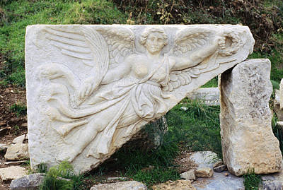 Stone Carving Of Nike Print by Mark Greenberg