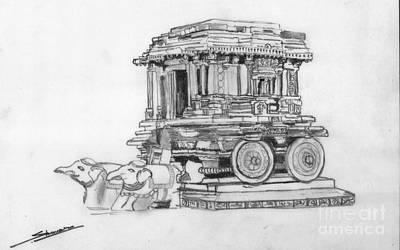 Shashi Kumar Drawing - Stone Chariot Hampi Vijayanagar Empire by Shashi Kumar