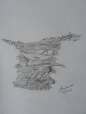 Otter Drawing - Stone Stairs At The Campground by Joel Deutsch