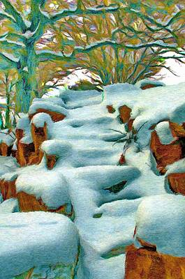Snowy Digital Art - Stone Steps In Winter by Jeff Kolker