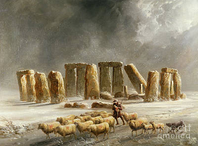 Dogs In Snow Painting - Stonehenge In Winter  by Walter Williams