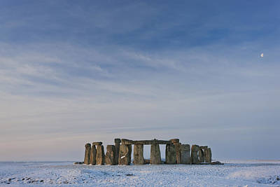 Megalith Photograph - Stonehenge, Wiltshire, England In Winter Snow by Peter Adams