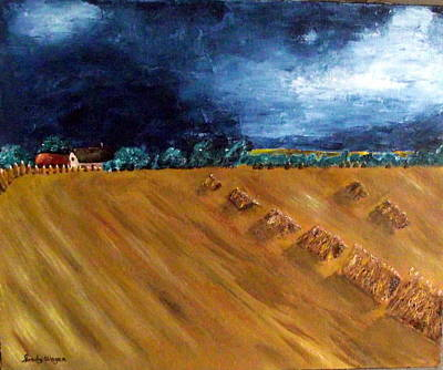 Haybale Painting - Stooks At Winkleigh by Sandy Wager