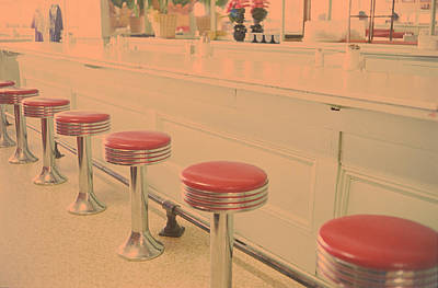 Stools At Bar Counter Print by Carol Whaley Addassi