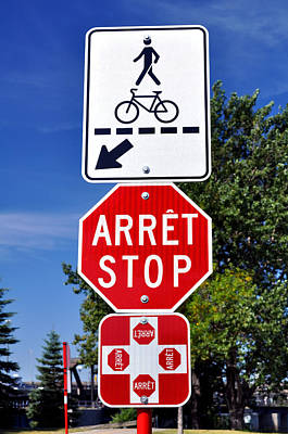 Stop Sign Photograph - Stop And Crossing Signs. by Fernando Barozza