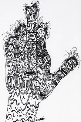 Art Brut Drawing - Stop Hate Show Love by Robert Wolverton Jr