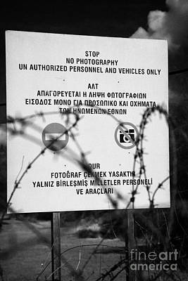 Stop Sign Photograph - stop no photographs of restricted area of the UN buffer zone in the green line cyprus nicosia by Joe Fox