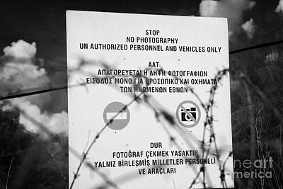 Stop Sign Photograph - stop no photographs of restricted area of the UN buffer zone in the green line nicosia cyprus by Joe Fox
