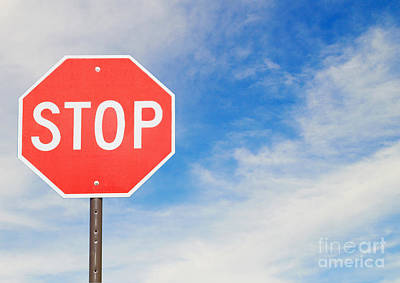 Stop Sign Photograph - Stop Sign by Dave & Les Jacobs