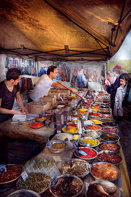 Storefront - The Open Air Tea And Spice Market  Print by Mike Savad