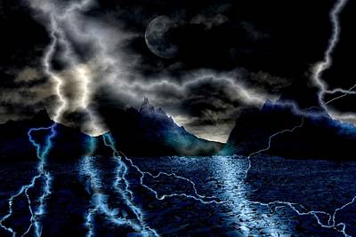 Storm In The Blue Mountains Print by Angel Jesus De la Fuente