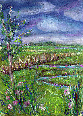 Bayville Painting - Stormy Wetlands by Clara Sue Beym