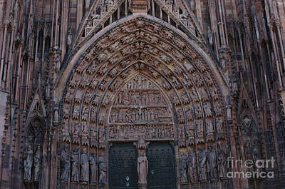 Strasbourg Cathedral Entranceway Print by Bob Christopher