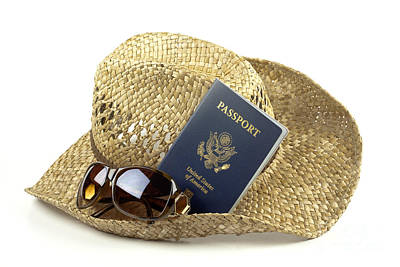 Straw Hat With Glasses And Passport Print by Blink Images