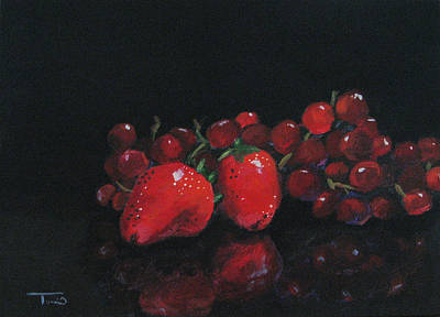 Still Life Painting - Strawberries And Grapes by Torrie Smiley