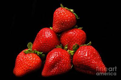 Strawberries On Velvet Print by Andee Design