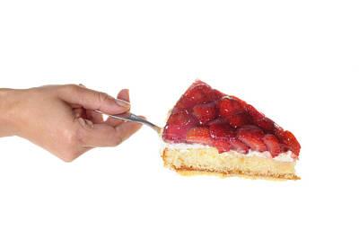 Strawberry Cake Served Print by Matthias Hauser