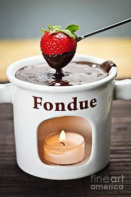 Strawberry Dipped In Chocolate Fondue Print by Elena Elisseeva