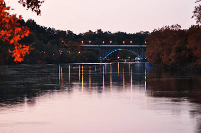 Strawberries Digital Art - Strawberry Mansion Bridge At Dusk by Bill Cannon