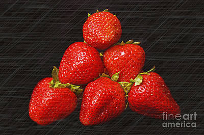 Strawberry Pyramid On Black Print by Andee Design