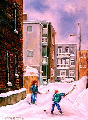 Montreal Winter Scenes Painting - Street Hockey In Laneway Montreal City Scenes by Carole Spandau