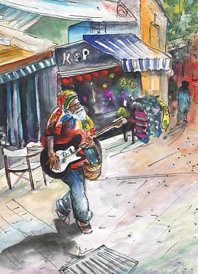 Music Painting - Street Musician In Turkish Nicosia by Miki De Goodaboom