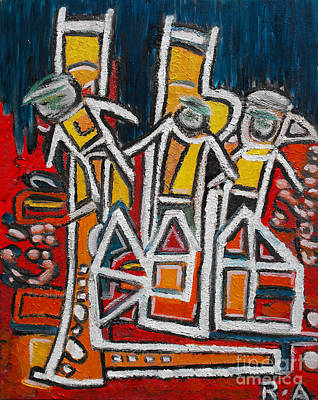 Dance Floor Painting - Street Musicians by Agnes Roman