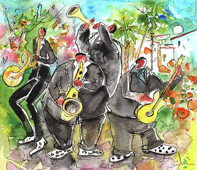Saxophone Drawing - Street Musicians In Cyprus by Miki De Goodaboom