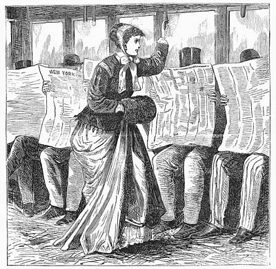 Streetcar Rudeness, 1868 Print by Granger