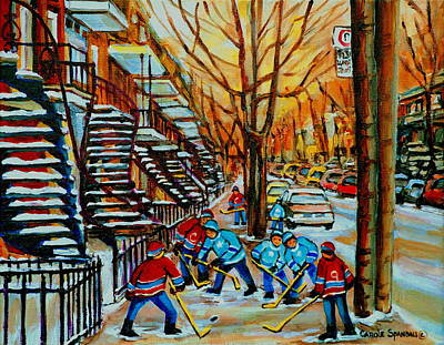 Of Verdun Hockey Scenes Montreal Street Scene Artist Carole Painting - Streets Of Verdun Hockey Art Montreal City Scenes With Winding Staircases And Row Houses by Carole Spandau
