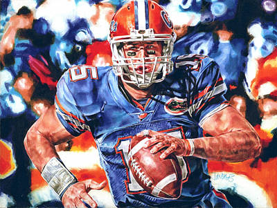 Tebow Drawing - Strength by Janine Hoffman