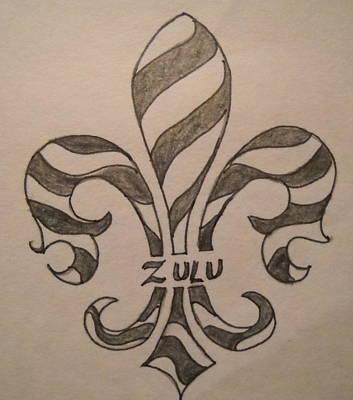 Mardi Drawing - Striped Zulu by Marian Hebert