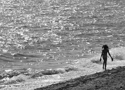 A Hot Summer Day Photograph - Strolling On Connecticut Beach by Cindy Lee Longhini