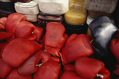 Students Kung Fu Boxing Gloves And Pads Print by Justin Guariglia