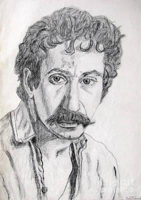 Study Of Jim Croce Print by Julie Coughlin