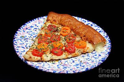 Stuff Crust Cherry Tomato Alfredo Pizza Print by Andee Design