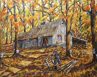 Finding Fine Art Painting - Sugar Bush Fall Scene Sugar Shack By Prankearts by Richard T Pranke
