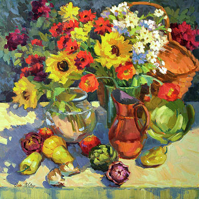 Wine Glass Painting - Summer Colors by Diane McClary