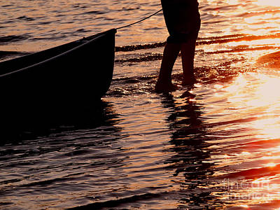 Summer Days - Canoeing At Sunset Print by Angie Rea