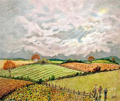 Amish Drawing - Summer Harvest by Marilyn Smith