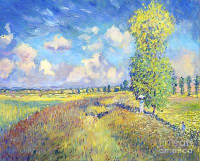 Field. Cloud Painting - Summer Poppy Fields - Sur Les Traces De Monet by David Lloyd Glover