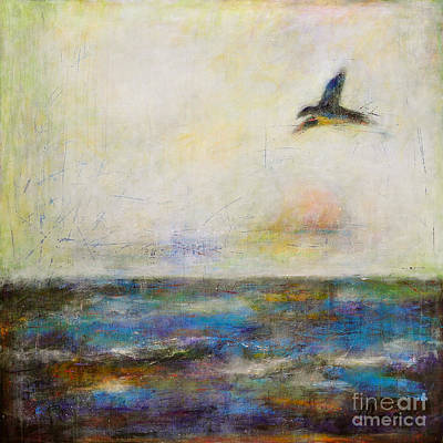 Abstract Seascape Painting - Summer Series The Fog Is Setting In by Johane Amirault