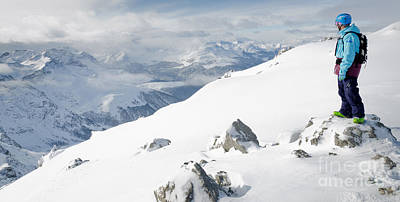 Summit Snowboarder Planning The Descent From Weissfluhgipfel Davos  Print by Andy Smy