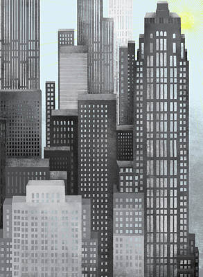 Sun And Skyscrapers Print by Jutta Kuss
