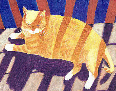 Orange Tabby Mixed Media - Sun God by Laurel Porter-Gaylord