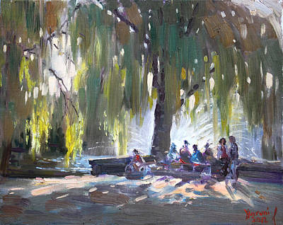 Lake Painting - Sunday Afternoon By The Fontain by Ylli Haruni